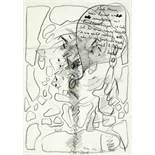 Dieter Roth. Ohne Titel (Selbstbildnis). Bleistiftzeichnung mit Gouache. 1990. 29,7 : 20,8 cm.