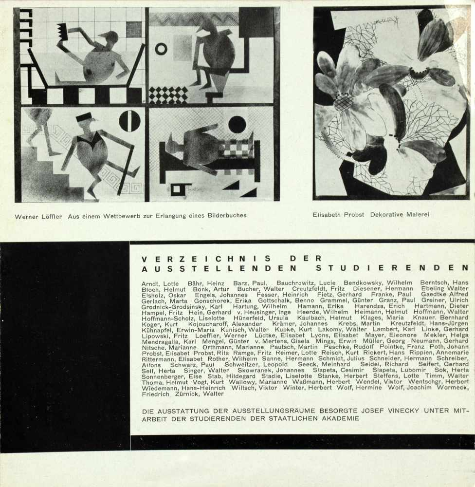 Johannes Molzahn - Staatliche Akademie fuer Kunst und Kunstgewerbe Breslau. Ausstellung der - Image 2 of 2