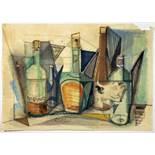 Paul Ohnsorge. Stillleben mit Glasflaschen. Aquarell über Bleistift. 1950. 44 : 62 cm. Signiert