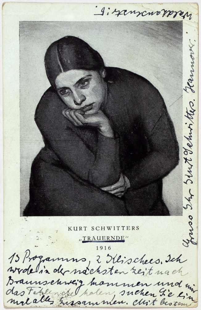 Kurt Schwitters. Eigenhändige Kunstpostkarte. Hannover, 4.1.1926. Beidseitig beschrieben. An Max - Image 2 of 2