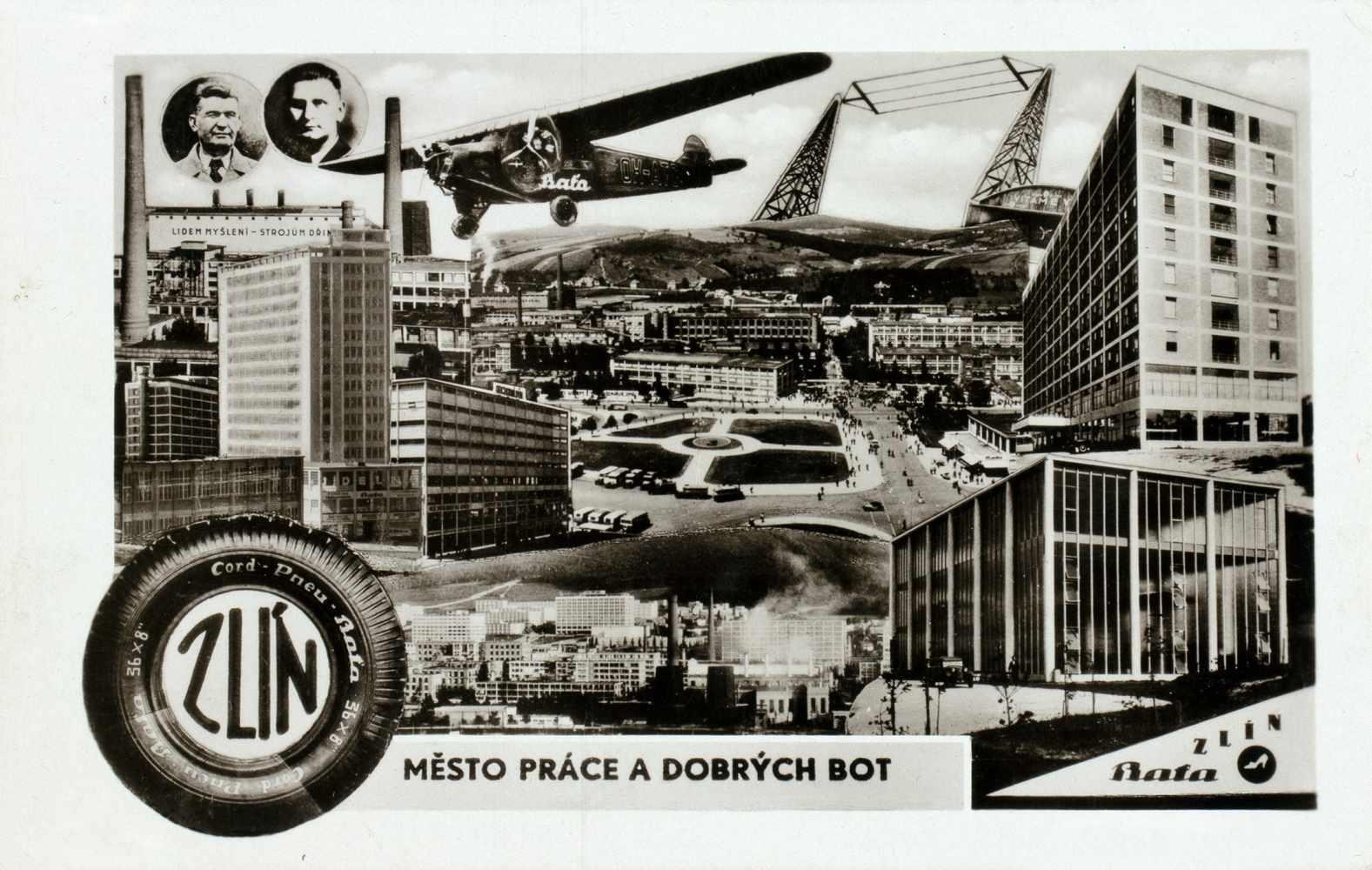 Bata-Zlin - Vier Fotomontagen. (Vintages, Silbergelatine, rückseitig mit Postkartenaufdruck). Um - Image 2 of 4