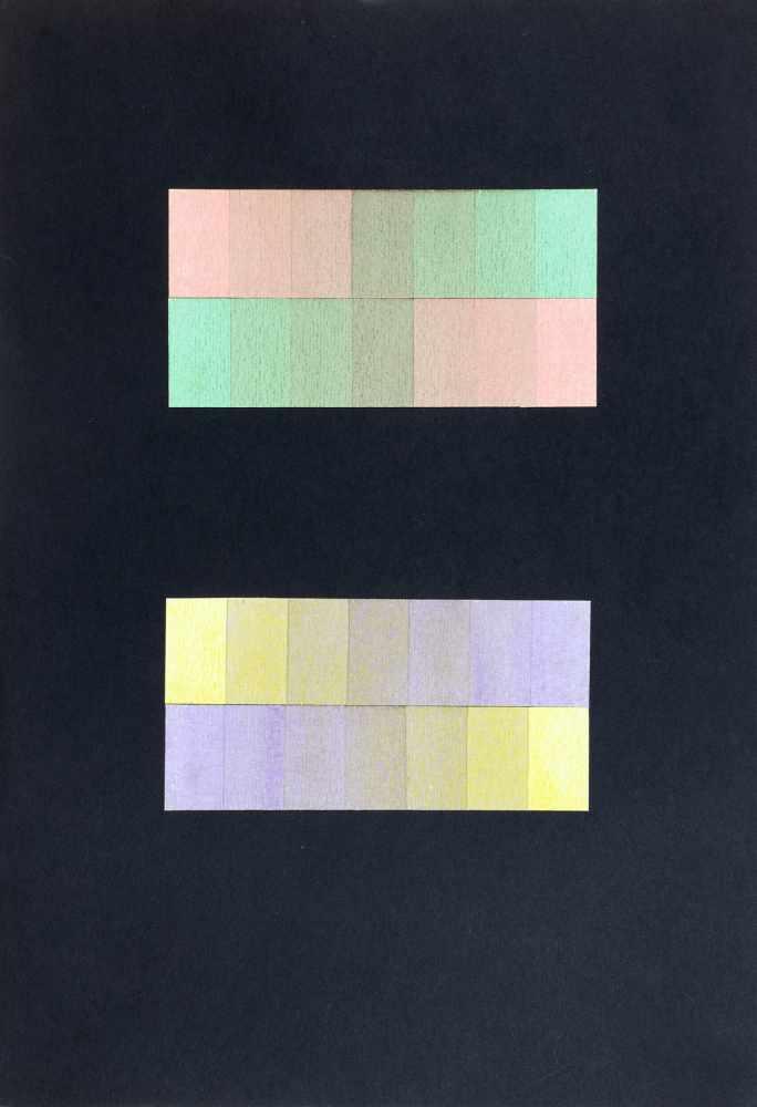 Bauhaus - Walter Köppe. Farbspektren. Vier collagierte Pastellkreidezeichnungen auf schwarzem