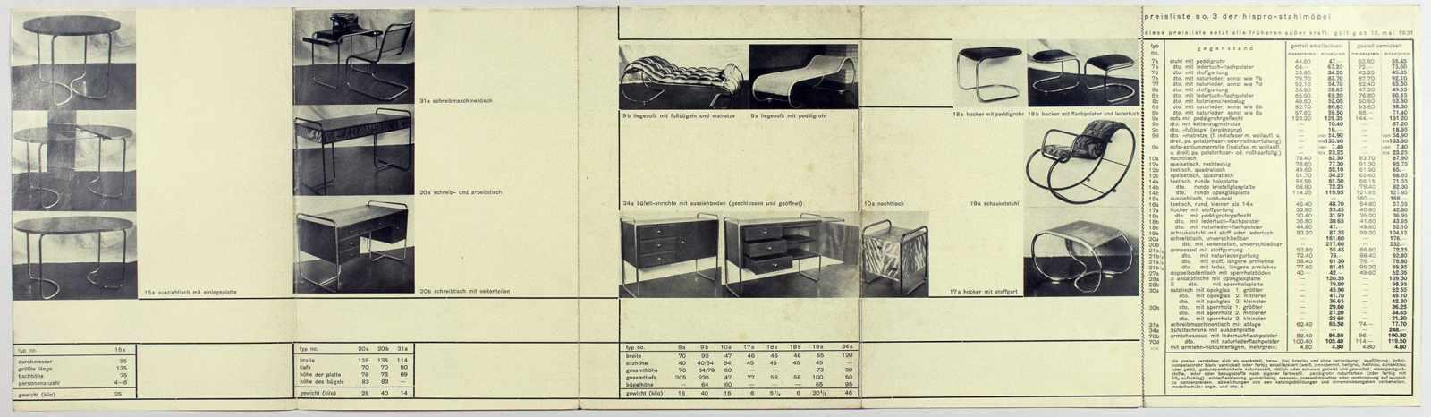 Bauhaus - Günter Hirschel-Protsch. Hispro-Stahlmöbel. Leporello mit 37 Abbildungen. 21 : 14,8 ( - Image 3 of 4