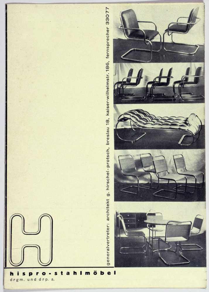 Bauhaus - Günter Hirschel-Protsch. Hispro-Stahlmöbel. Leporello mit 37 Abbildungen. 21 : 14,8 (