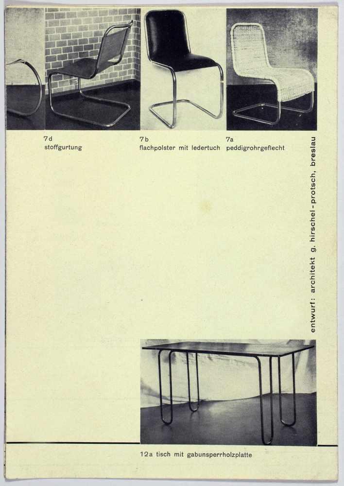 Bauhaus - Günter Hirschel-Protsch. Hispro-Stahlmöbel. Leporello mit 37 Abbildungen. 21 : 14,8 ( - Image 4 of 4