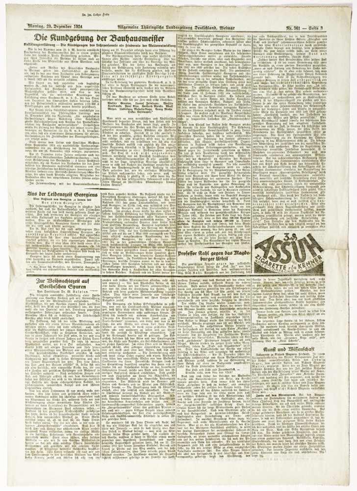 Bauhaus - Pressestimmen zur bevorstehenden Schließung des Bauhauses Weimar. Fünf - Image 4 of 6