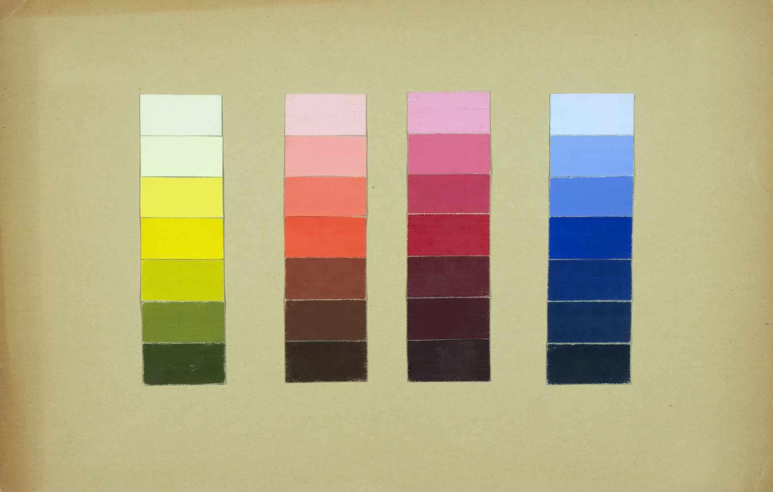 Bauhaus - Walter Köppe. Unterricht Kandinsky. Farbspektren. 28 collagierte Temperafarbflächen auf