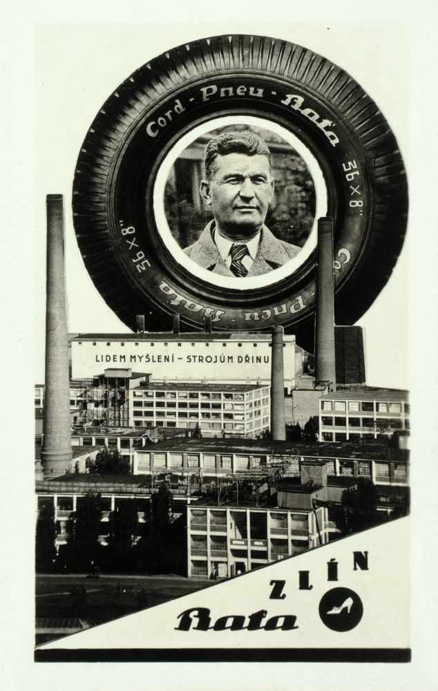 Bata-Zlin - Vier Fotomontagen. (Vintages, Silbergelatine, rückseitig mit Postkartenaufdruck). Um
