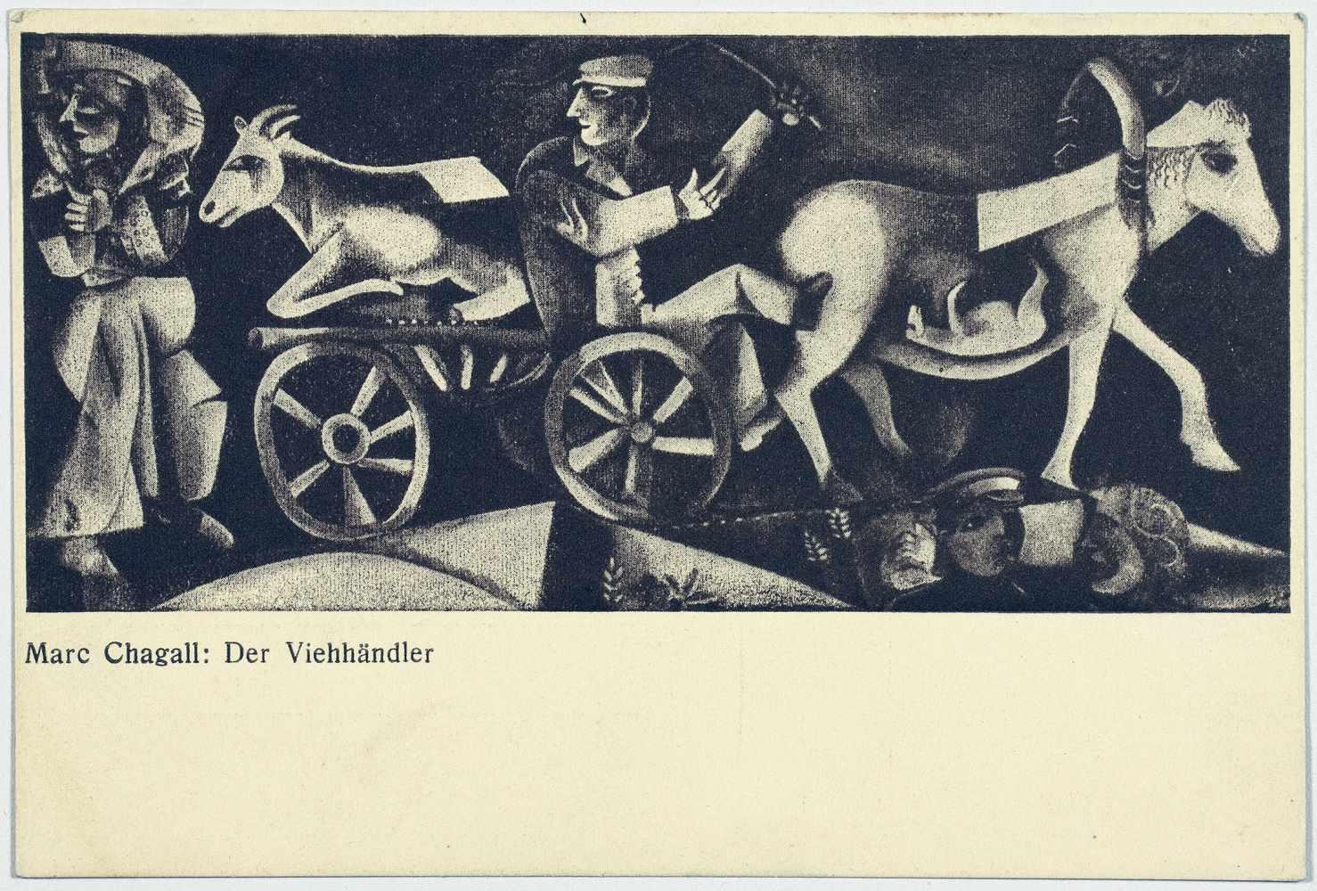 Sturm-Postkarten. Vier Postkarten. Um 1915. Ca. 14 : 10 cm. I. Marc Chagall. Kleinstadt. - Image 2 of 4