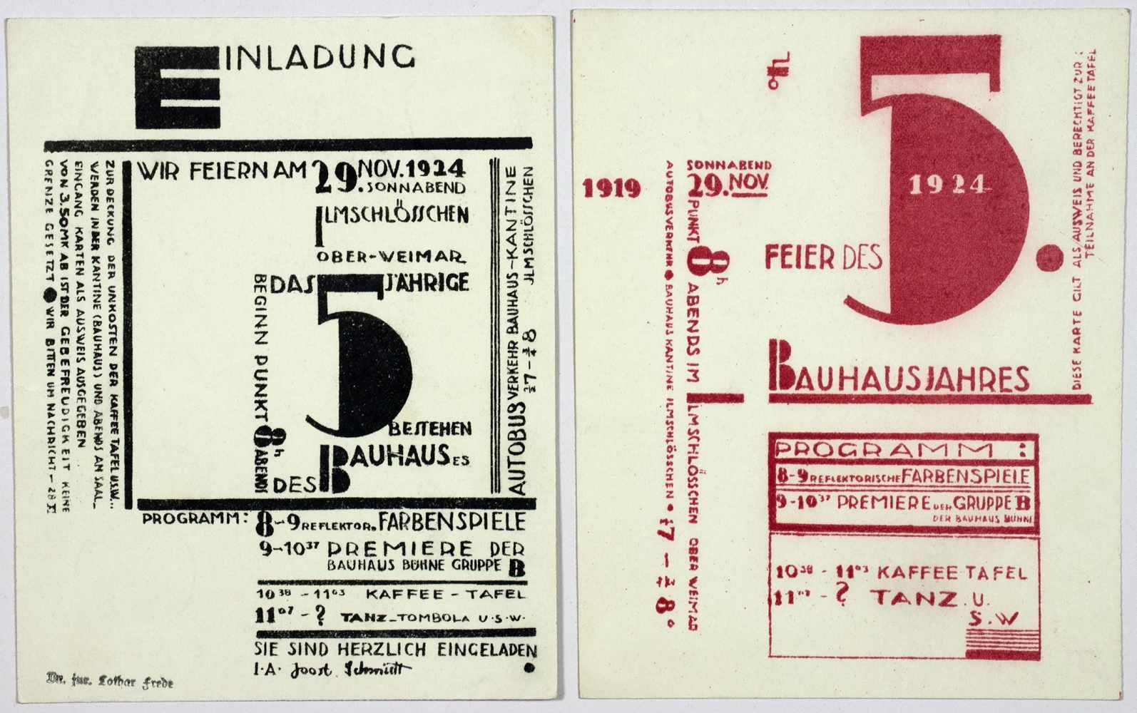Bauhaus - Joost Schmidt. Wir feiern am 29. Nov. 1924 das 5jährige Bestehen des Bauhauses.