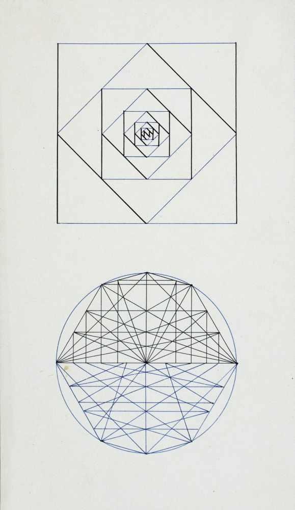 Bauhaus - Walter Köppe. Geometrische Kompositionen. Zehn teils mehrfarbige Tuschfederzeichnungen auf - Image 4 of 4