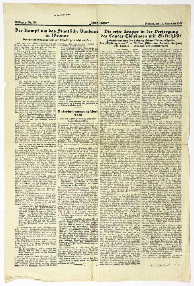 Bauhaus - Pressestimmen zur bevorstehenden Schließung des Bauhauses Weimar. Fünf