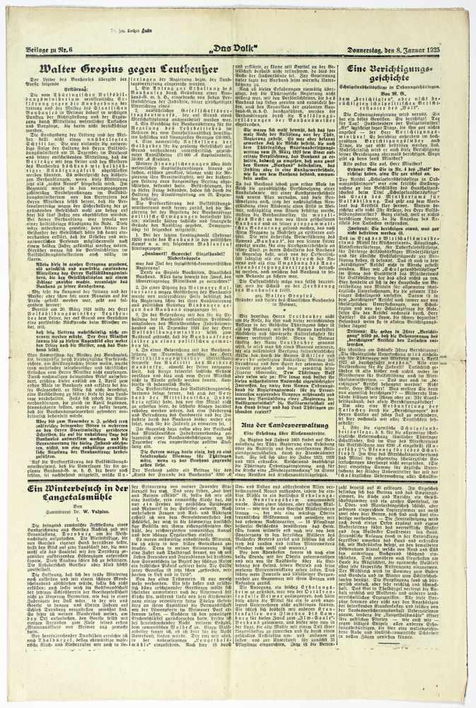 Bauhaus - Pressestimmen zur bevorstehenden Schließung des Bauhauses Weimar. Fünf - Image 5 of 6