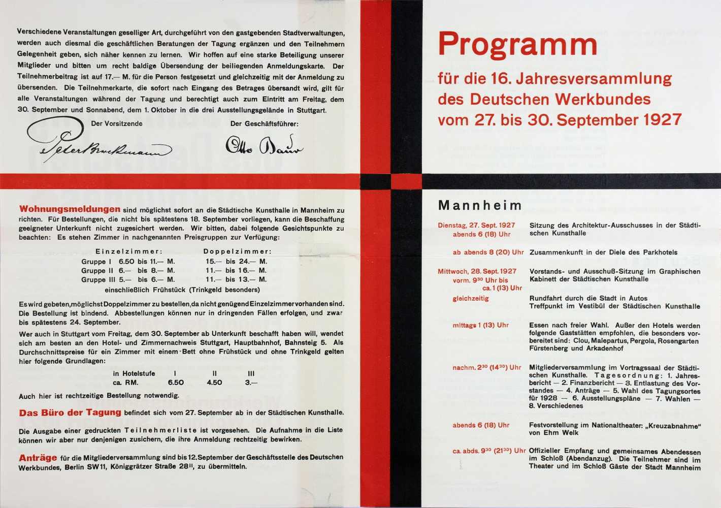16. Jahresversammlung des Deutschen Werkbundes. Einladung und Programm. Doppelblatt. Zweifarbiger - Image 2 of 3