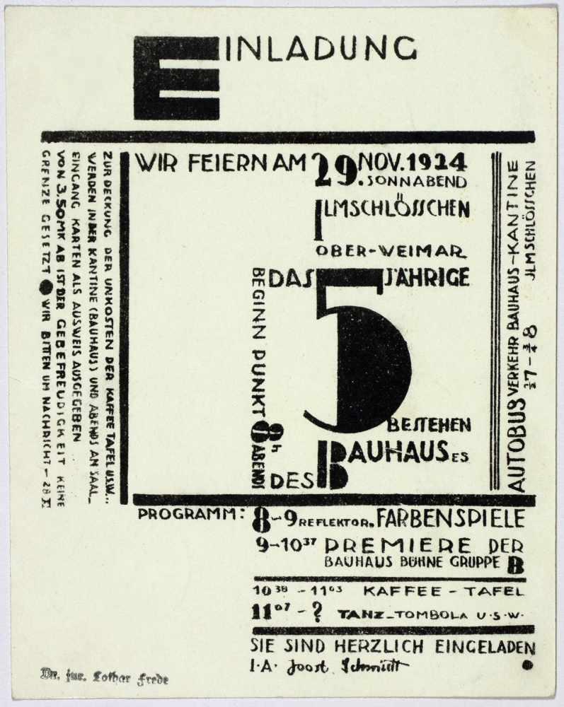 Bauhaus - Joost Schmidt. Wir feiern am 29. Nov. 1924 das 5jährige Bestehen des Bauhauses. - Image 2 of 3