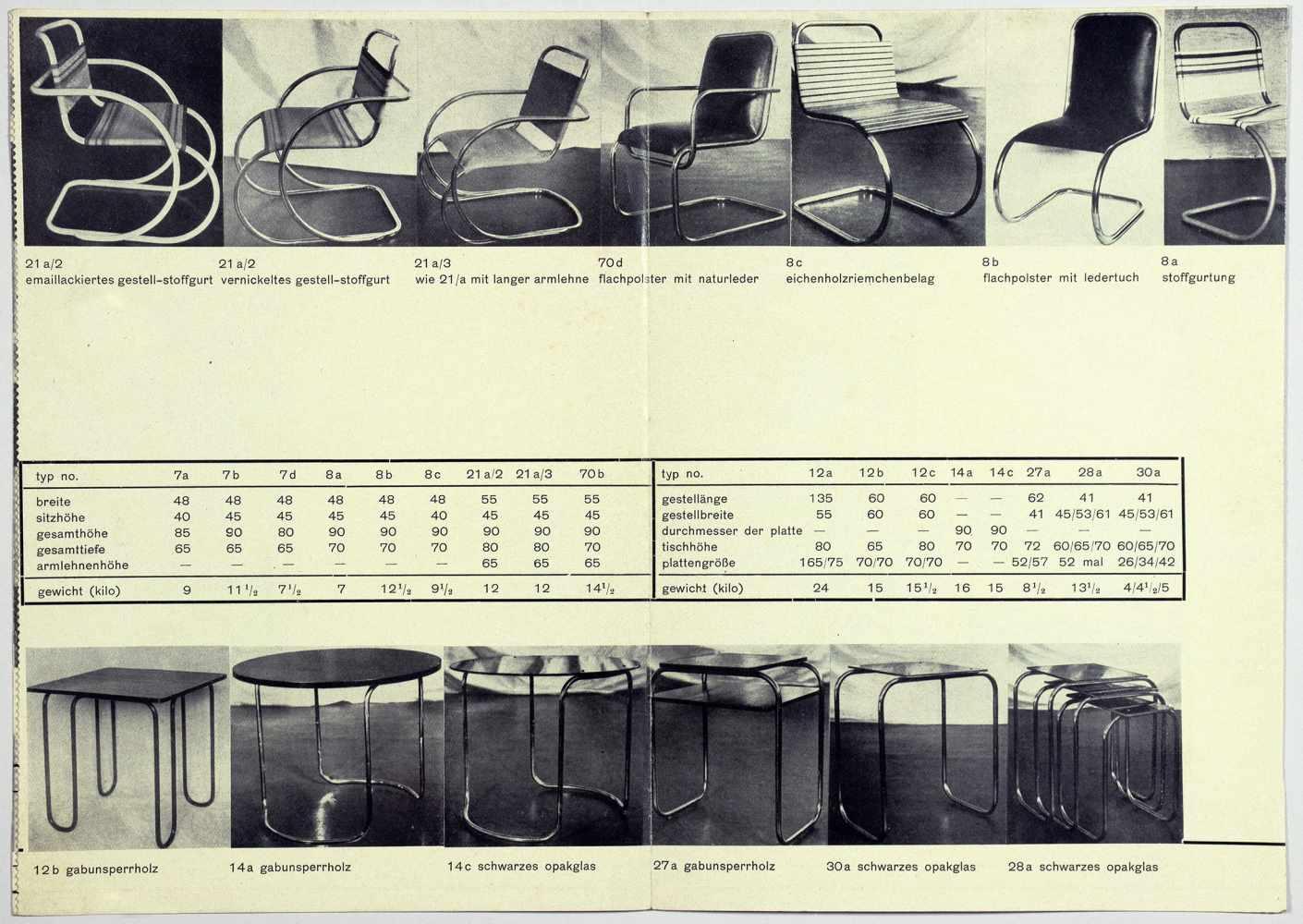 Bauhaus - Günter Hirschel-Protsch. Hispro-Stahlmöbel. Leporello mit 37 Abbildungen. 21 : 14,8 ( - Image 2 of 4