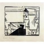 Lyonel Feininger. Gelbe Dorfkirche 3 (Dorfkirche). Holzschnitt. 1931. 18,9 : 22,6 cm (31 : 41 cm).