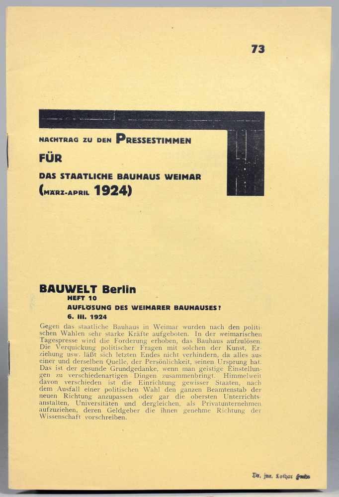 Bauhaus - Nachtrag zu den Pressestimmen für das Staatliche Bauhaus Weimar (März-April 1924). Weimar,