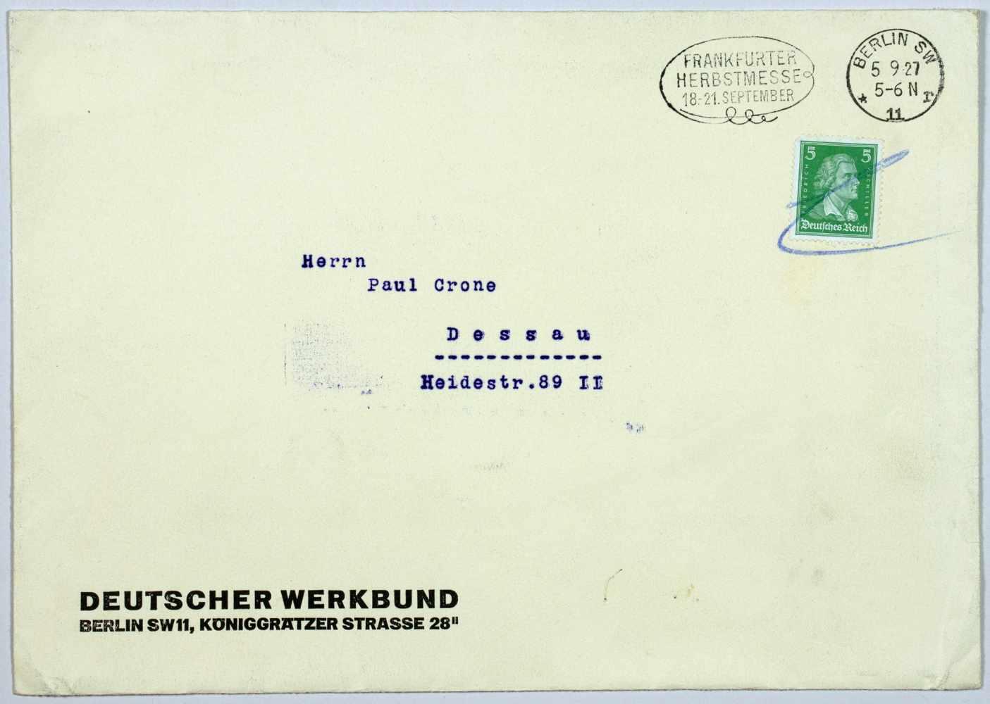 16. Jahresversammlung des Deutschen Werkbundes. Einladung und Programm. Doppelblatt. Zweifarbiger - Image 3 of 3