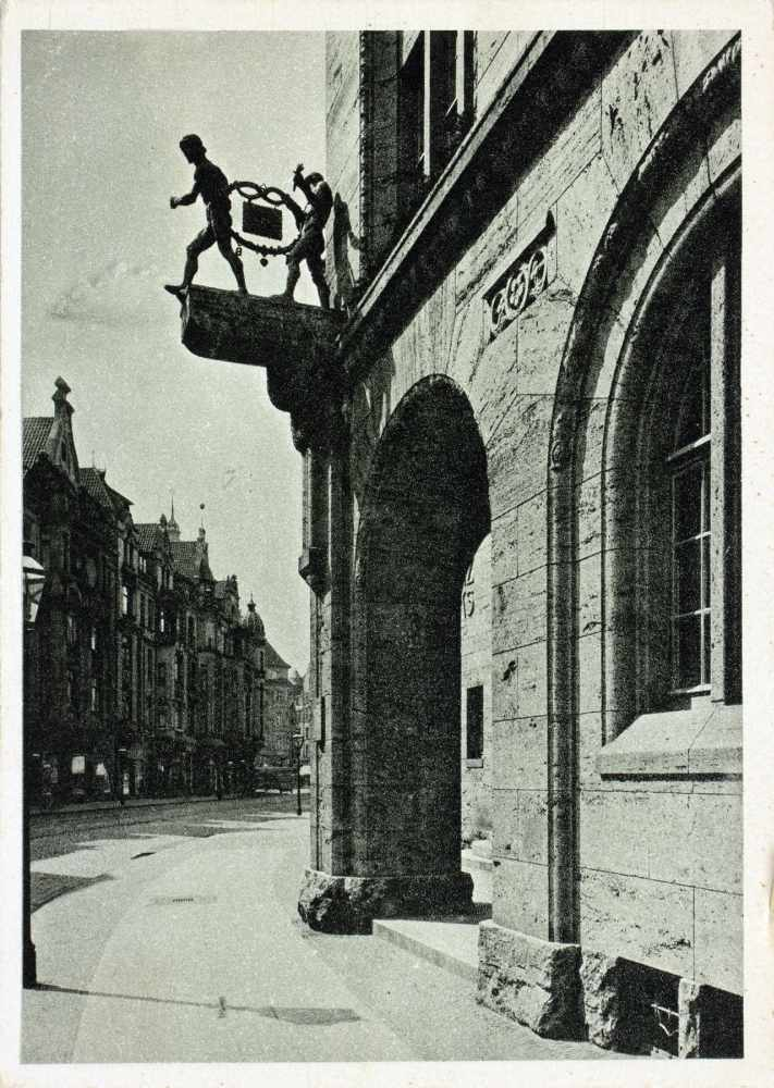 Kurt Schwitters - H. Bahlsens Keks-Farbik Hannover. Drei Werbepostkarten. Um 1929. 10,5 : 14,8 cm. - Image 2 of 4
