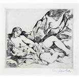 Willy Jaeckel. Stillende Mutter. Kaltnadelradierung. Um 1913/14. 13,8 : 15,8 cm (29,0 : 39,5 cm).