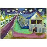 Sturm-Postkarten. Vier Postkarten. Um 1915. Ca. 14 : 10 cm. I. Marc Chagall. Kleinstadt.