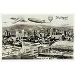Stuttgart 1940. Fotomontage (Vintage, Silbergelatine, rückseitig mit Postkartenaufdruck). 1930. 9,