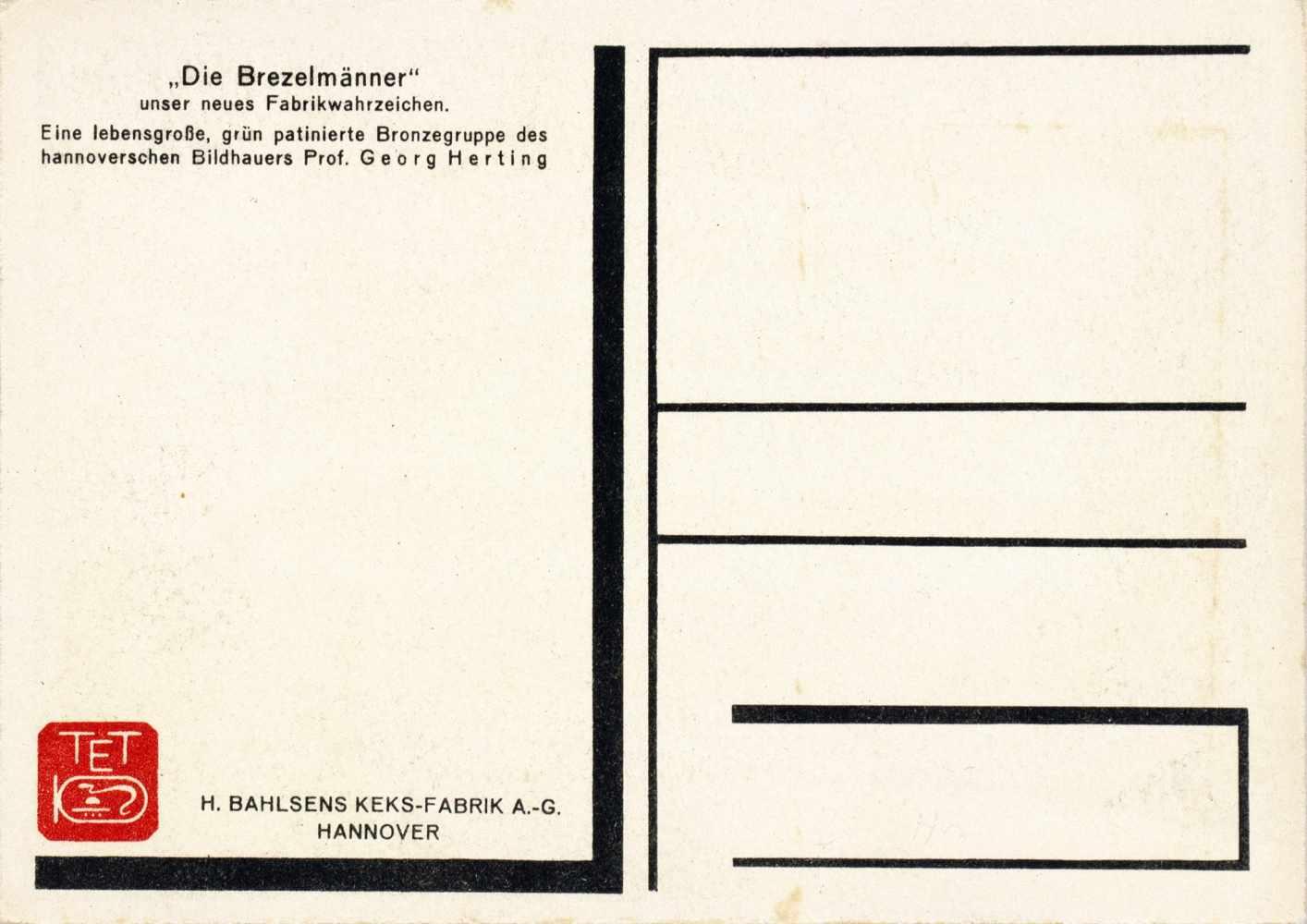 Kurt Schwitters - H. Bahlsens Keks-Farbik Hannover. Drei Werbepostkarten. Um 1929. 10,5 : 14,8 cm.