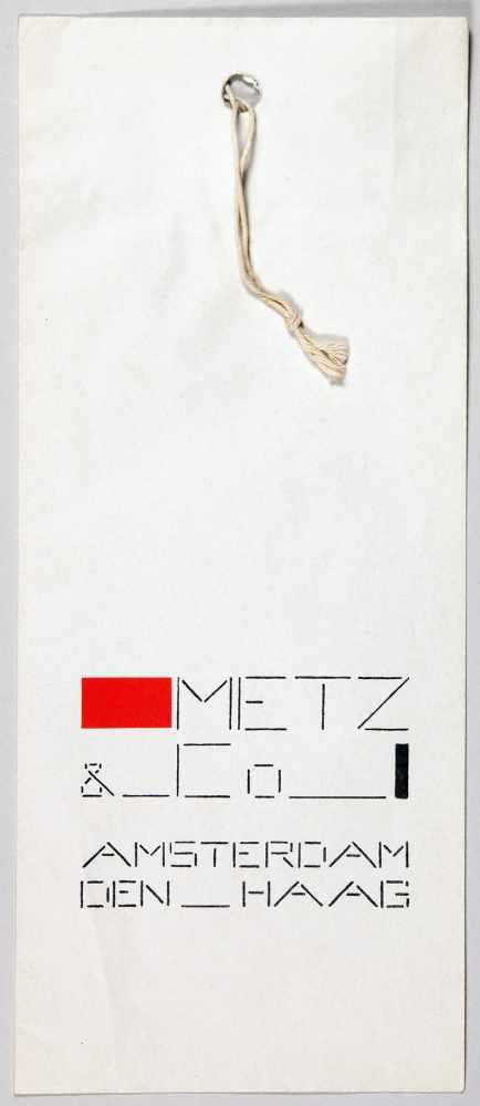 Bart van der Leck. Metz & Co. Amsterdam - Den Haag. Papiertasche mit Buchdruck in Rot und Schwarz.