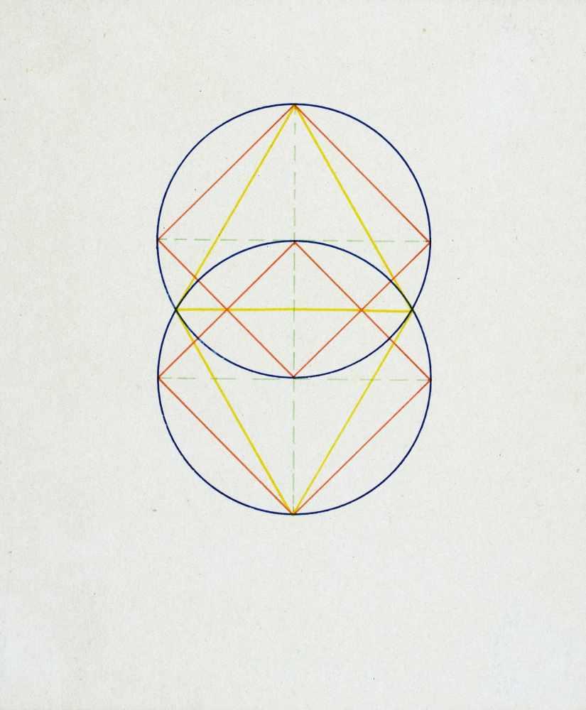 Bauhaus - Walter Köppe. Geometrische Kompositionen. Zehn teils mehrfarbige Tuschfederzeichnungen auf