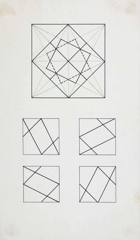 Bauhaus - Walter Köppe. Geometrische Kompositionen. Zehn teils mehrfarbige Tuschfederzeichnungen auf - Image 3 of 4