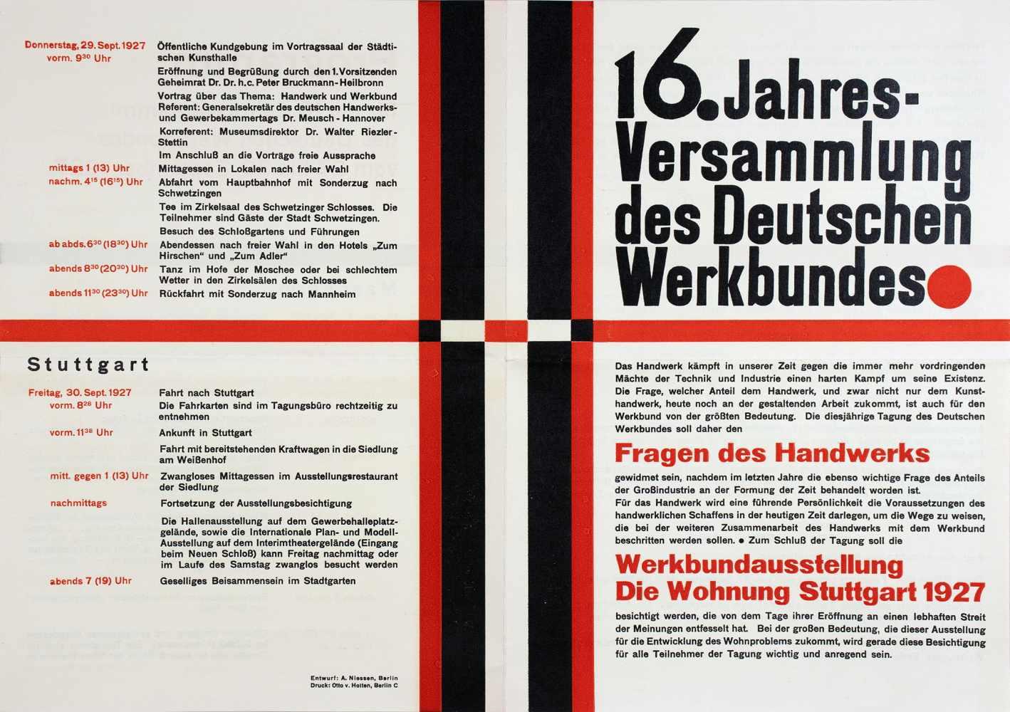 16. Jahresversammlung des Deutschen Werkbundes. Einladung und Programm. Doppelblatt. Zweifarbiger