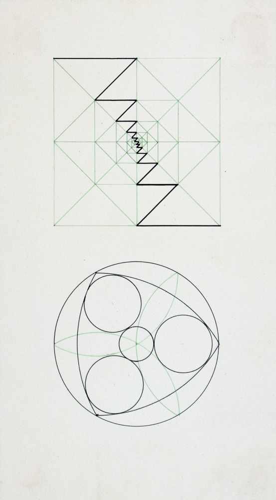 Bauhaus - Walter Köppe. Geometrische Kompositionen. Zehn teils mehrfarbige Tuschfederzeichnungen auf - Image 2 of 4