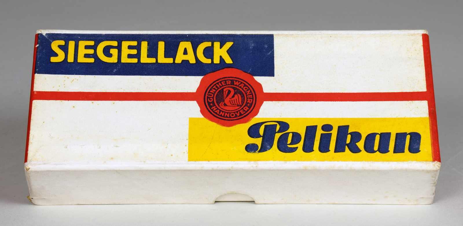 El Lissitzky - Pelikan Siegellack. Originalkartonschachtel mit farbiger Banderole. Entwurf: El
