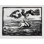Erich Heckel. Segelboot. Holzschnitt. 1907. 15,7 : 21,8 cm (30,2 : 38,8 cm). Signiert, datiert, im