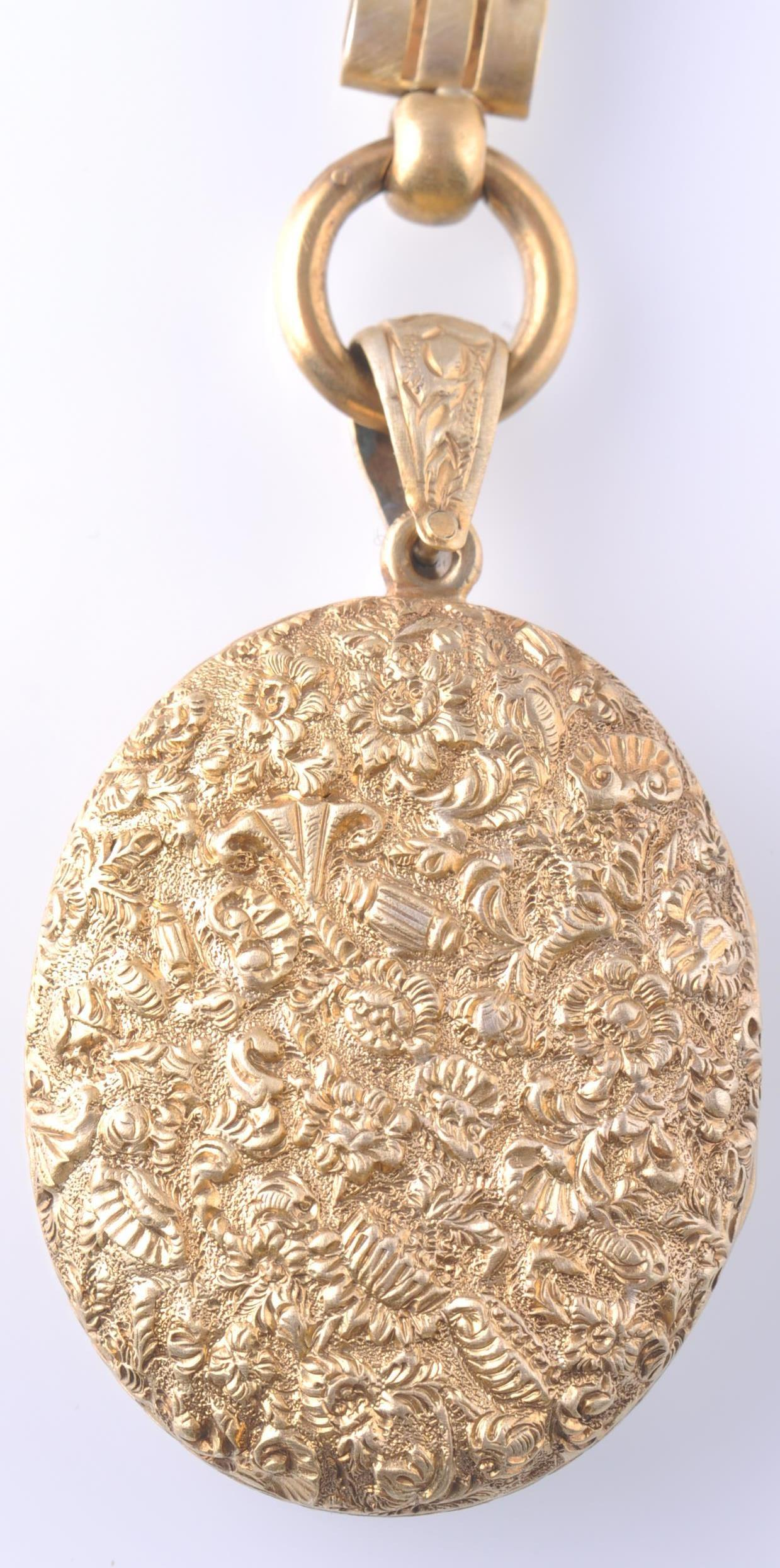 A 19TH CENTURY VICTORIAN PENDANT LOCKET ON CHAIN - Image 8 of 9