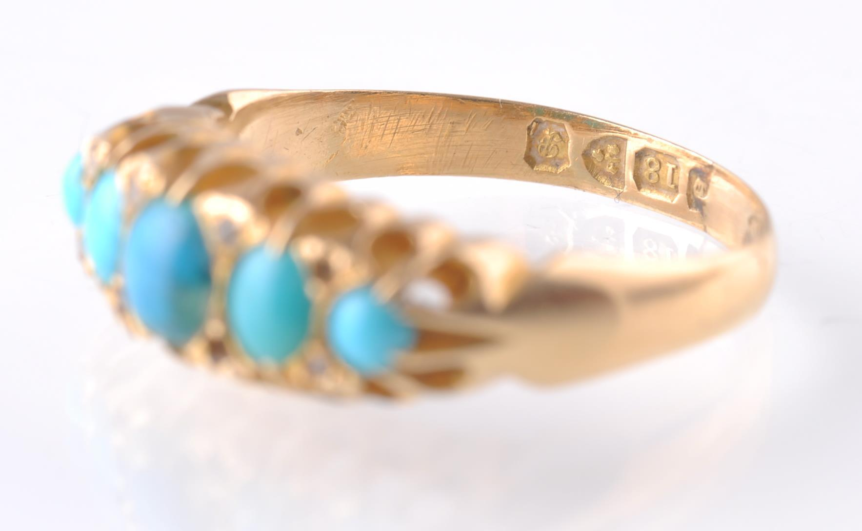An 18CT GOLD & TURQUOISE GYPSY RING - 1915 - Image 4 of 4