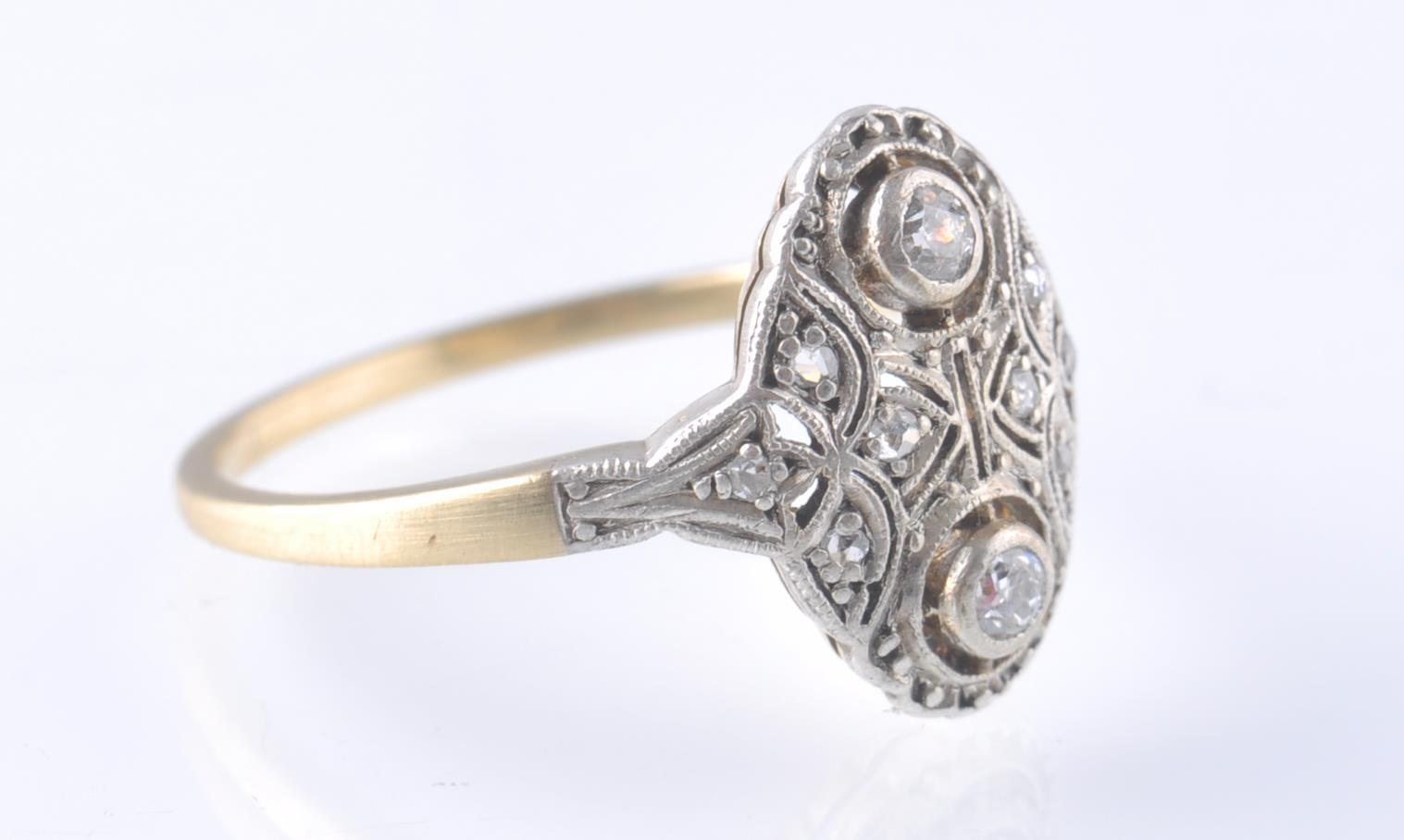 AN 18CT GOLD & PLATINUM ART DECO DIAMOND RING - Image 3 of 3