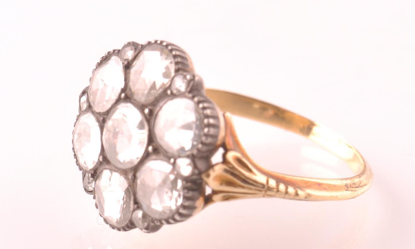 Lot 24 - 19TH CENTURY ROSE CUT DIAMOND CLUSTER RING