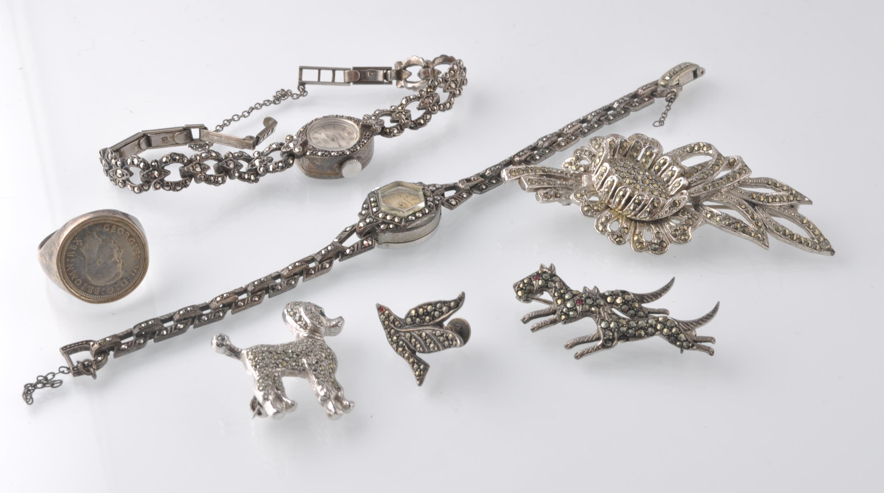 LARGE SELECTION OF SILVER AND WHITE METAL JEWELLER - Image 6 of 13