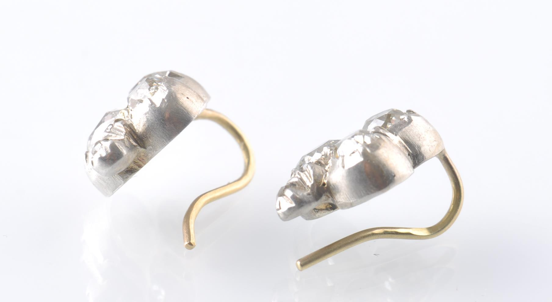 A PAIR OF WHITE GOLD AND DIAMOND TREFOIL EARRINGS - Image 3 of 3