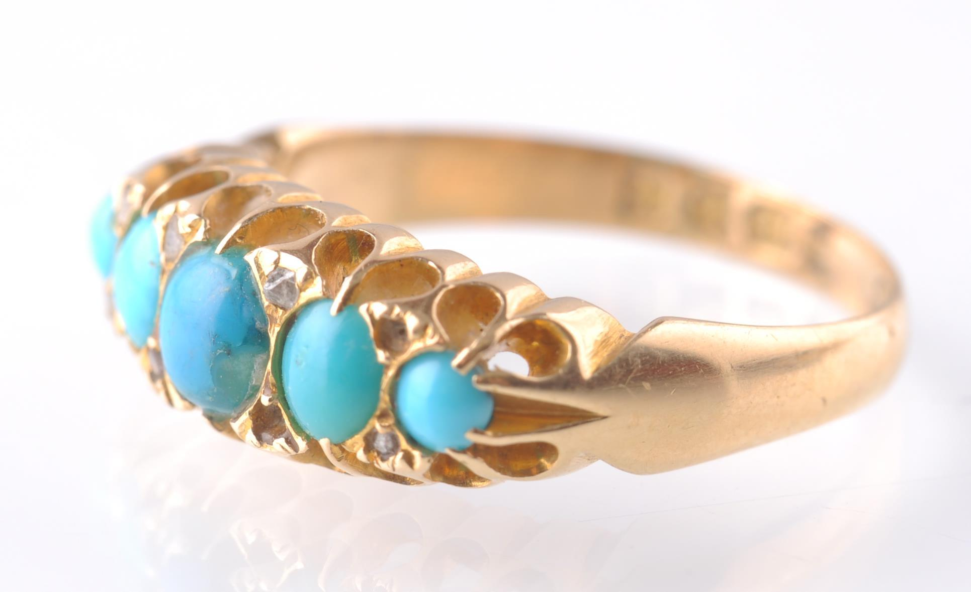 An 18CT GOLD & TURQUOISE GYPSY RING - 1915 - Image 2 of 4
