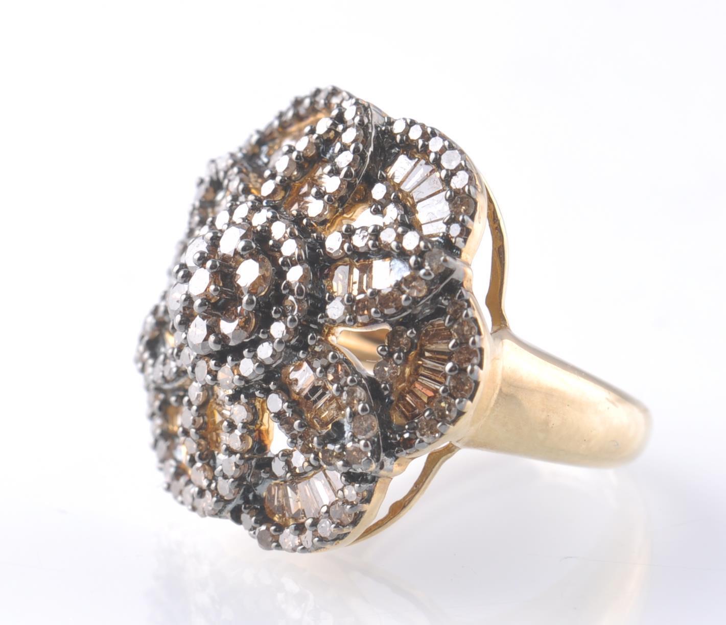 9CT GOLD BIRMINGHAM CHAMPAGNE DIAMOND FLOWER CLUST - Image 2 of 4