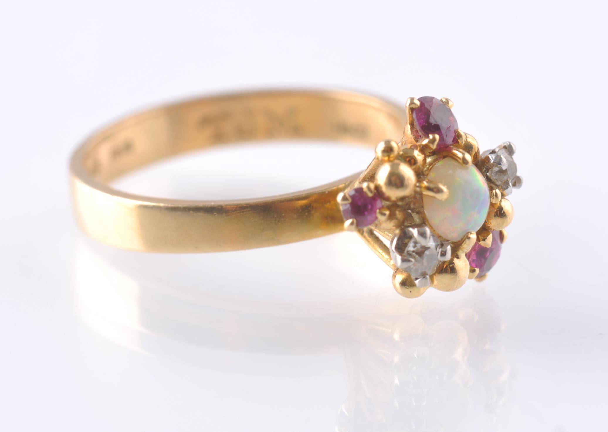 A HALLMARKED OPAL RUBY AND DIAMOND CLUSTER RING - Image 2 of 4