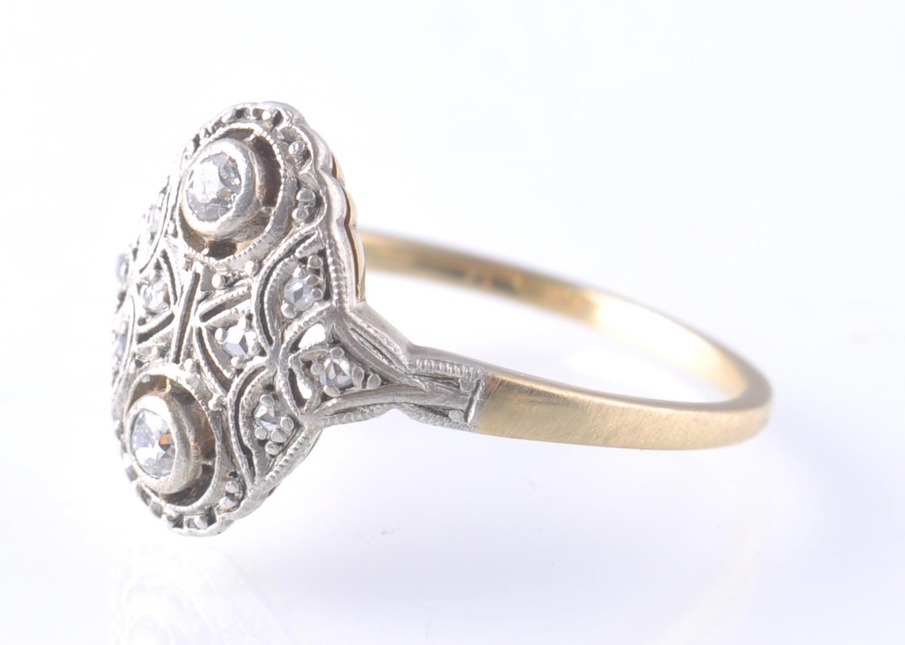 AN 18CT GOLD & PLATINUM ART DECO DIAMOND RING - Image 2 of 3