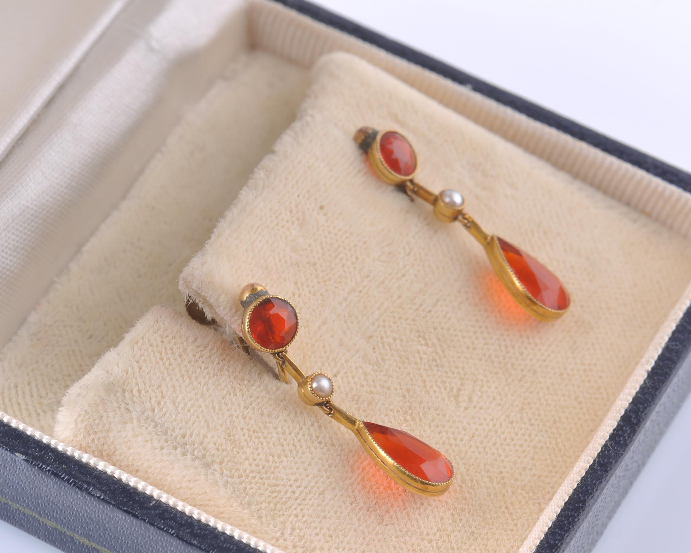 A PAIR OF EARLY 20TH CENTURY SPESSARTINE GARNET & - Image 4 of 4