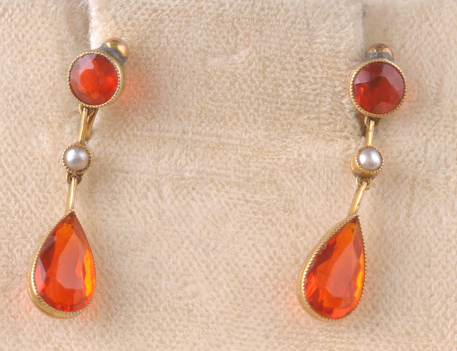 A PAIR OF EARLY 20TH CENTURY SPESSARTINE GARNET & - Image 3 of 4