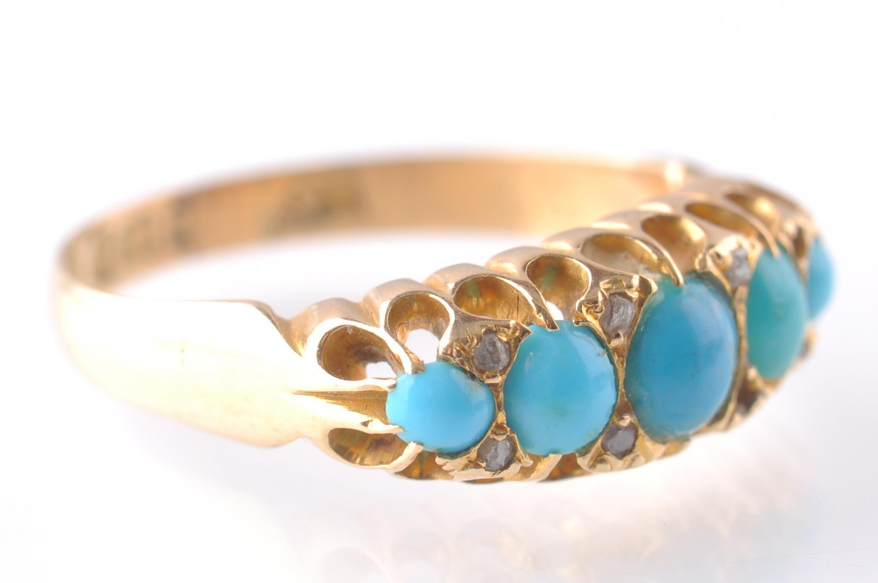 An 18CT GOLD & TURQUOISE GYPSY RING - 1915 - Image 3 of 4