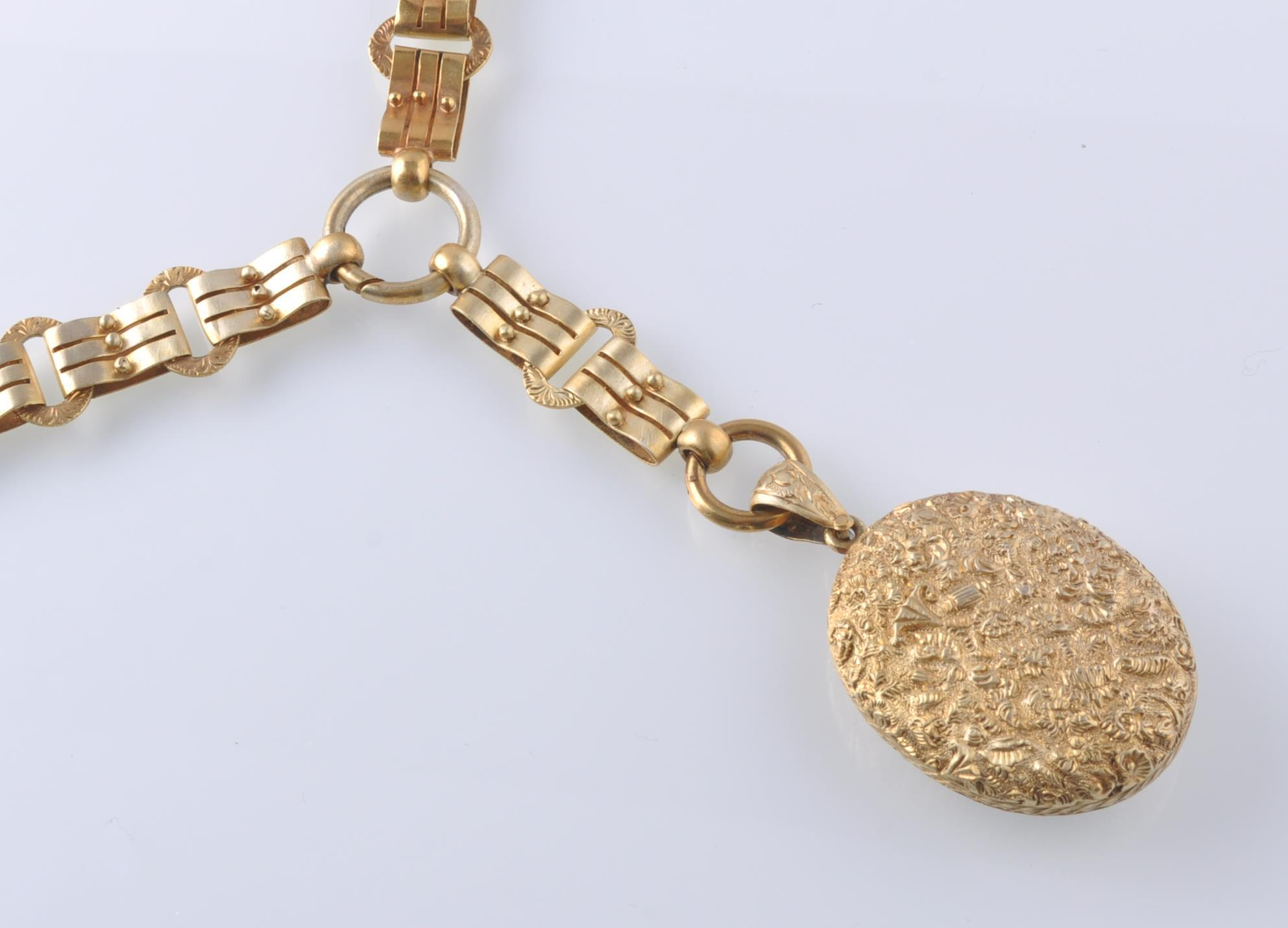 A 19TH CENTURY VICTORIAN PENDANT LOCKET ON CHAIN - Image 7 of 9