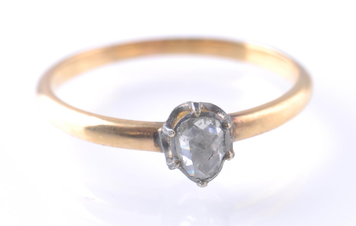 19TH CENTURY ANTIQUE ROSE GOLD SINGLE STONE DIAMON